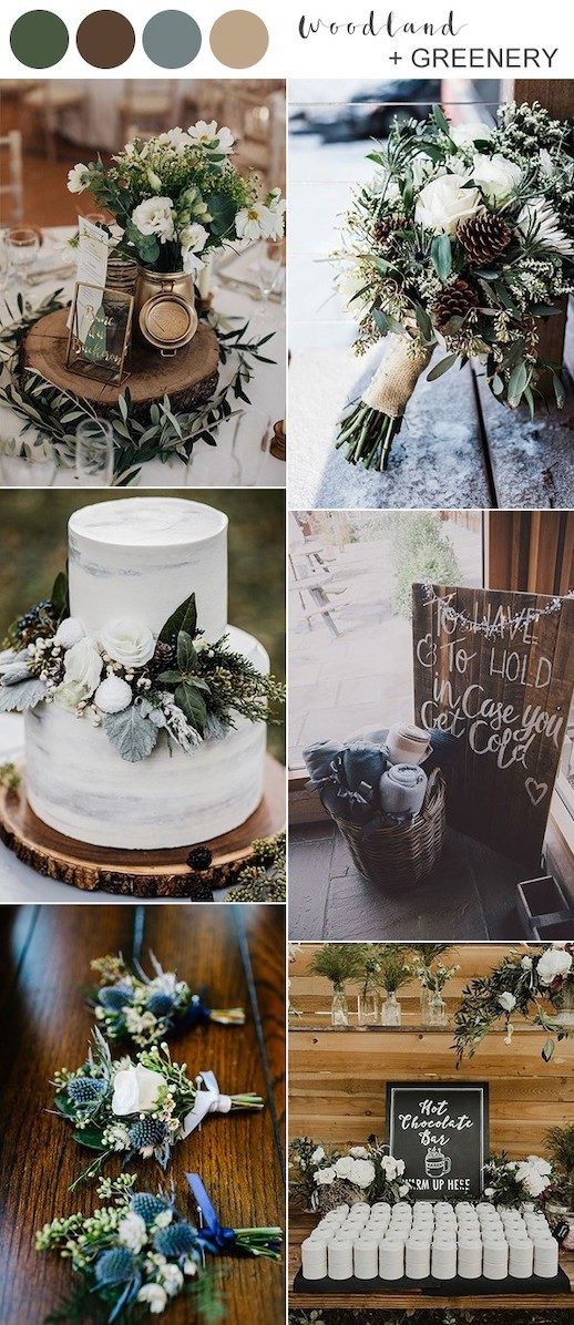 rustic-woodland-and-greenery-winter-wedding-color-ideas